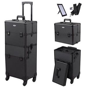 AW 2in1 4 Wheel Pro Aluminum Rolling Makeup Cosmetic Train Case