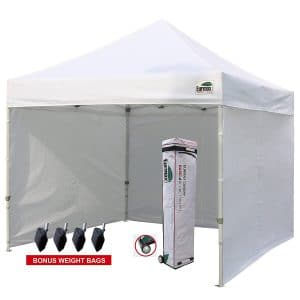 Eurmax 10'x10' Ez Pop-up Canopy Tent Commercial Instant Tent with 4 Removable Zipper End Side Walls and Roller Bag