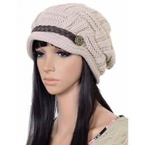 Women Winter Beanie Cabled Checker Pattern Knit Hat