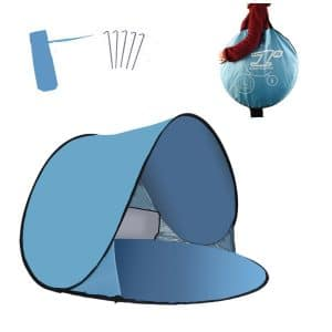 RIJER Automatic Pop up Instant Portable Outdoors Beach Tent Sun Shelter Cabana with Carrying Case & Stakes