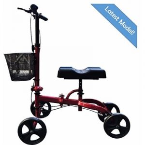 Health Port Knee Scooter Rollabout Medical Knee Walker (Glossy Red)