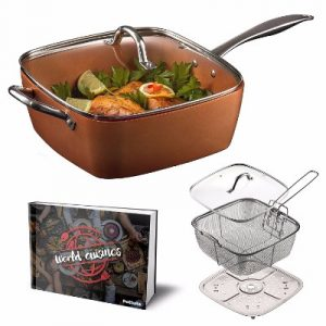 Pottella Deep Square Nonstick Copper Pan, 9.5-Inch
