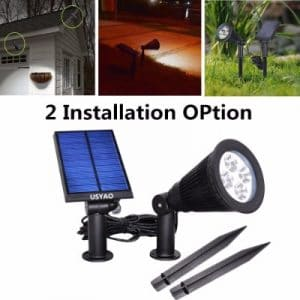 USYAO Solar-Powered LED Spot Light IP44 Waterproof Separated Panel and Light