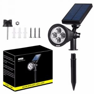 AMIR 2 in 1 Solar Spotlights, Upgraded Solar Garden Light Outdoor, Waterproof 4 LED
