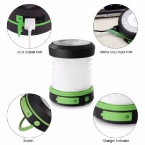 Suaoki Led Camping Lantern Lights Rechargeable Battery Collapsible Flashlight