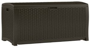 Suncast DBW9200 Mocha Resin Wicker 99-Gallon Deck Box, Java