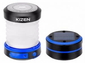 Kizen Solar Powered LED Camping Lantern - Solar or USB Chargeable, Collapsible Space