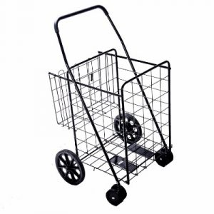 Lifestyle Solutions Jumbo Deluxe Portable Folding Shopping Cart with Swivel Wheels