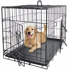Paws _ Pals Dog Crate Double-Door Folding Metal - Wire Cage w_ Divider