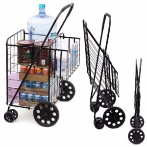 Wellmax WM99017 Double Basket Folding Shopping Cart with Swivel Wheels, Black