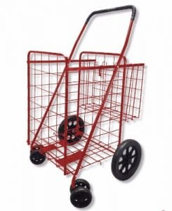 MOD Complete MDC77037R Folding Shopping Cart with Swivel Wheels, Red
