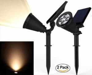 Solar Spotlights, Magictec Warm Light 2-in-1 Adjustable 4 LED Wall _ Landscape
