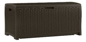 Suncast DBW7300 Wicker Resin 73-Gallon Deck Box, Mocha Brown