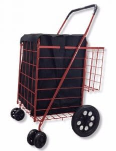 SCF Double Basket Folding Utility Cart, Black