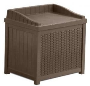 Suncast SSW1200 Mocha Resin Wicker Deck Box, 22-Gallon
