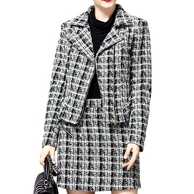 FOND Women's Tweed Pea Business Jacket Suit