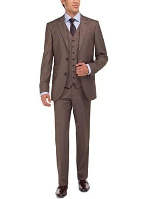 Luciano Natazzi Two Button 3- Piece Modern Fit Vested Mens Tweed Suit