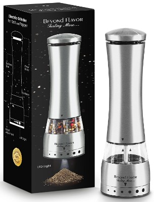 Electric Salt & Pepper Grinder, Automatic Battery Operated Stainless Steel Salt Grinder