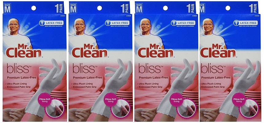 Mr. Clean Bliss Premium Latex-Free Gloves, Medium, 4 Pairs