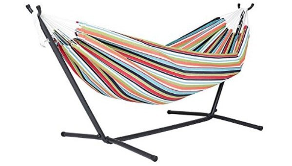 Vivere Double Sunbrella Hammock with Space-Saving Steel Stand, Carousel Confetti