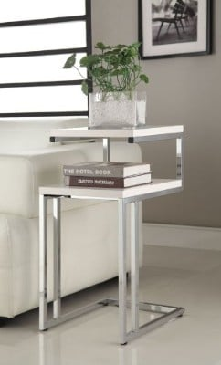 eHomeProducts White Finish Chrome Snack End Table
