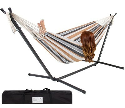 Best Choice Products Double Hammock With Space Saving Steel Stand