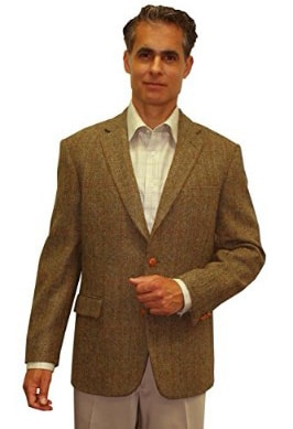 Jean Paul Germain Harris Tweed Sport Coat, Olive Windowpane