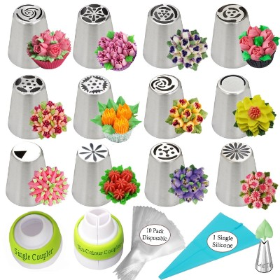 K&S Artisan Russian Piping Tips 26-Pcs 12 Icing Frosting Nozzles Cupcakes Cake
