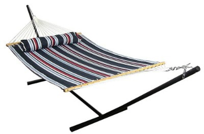 Sunnydaze 2 Person Freestanding Quilted Fabric Spreader Bar Hammock with 12-Foot