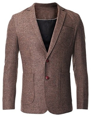 FLATSEVEN Herringbone Tweed Jacket for Men, Brown