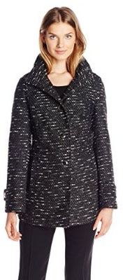 Kenneth Cole Women_s Tweed Wool-Blend Coat