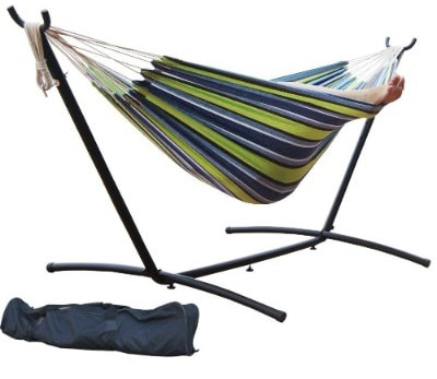 Prime Garden 9' Space Saving Double Hammock with Steel Stand