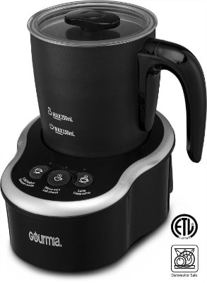 Gourmia GMF235 Cordless Electric Milk Frother & Heater, 3 Touch Button Control