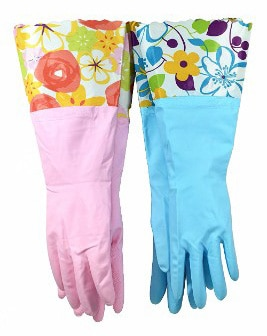 Household Gloves Latex Free Cleaning Gloves with Soft Fiber Lining Extra Long Cuff 1522