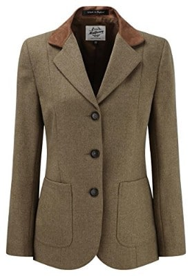 Women_s Tweed Blazer with Contrast Collar Tan-8