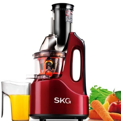 SKG Wide Chute Anti-Oxidation Slow Masticating Juicer, 240W AC Motor, 3Large Mouth