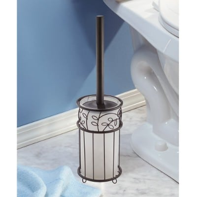 InterDesign Twigz Toilet Bowl Brush and Holder, Clear:Bronze