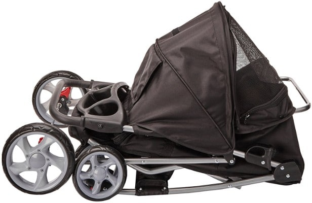 Paws & Pals 4-Wheel City Walk N Stride Pet Stroller, Onyx Black