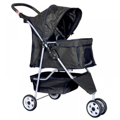 New Black 4-Wheel Pet Stroller