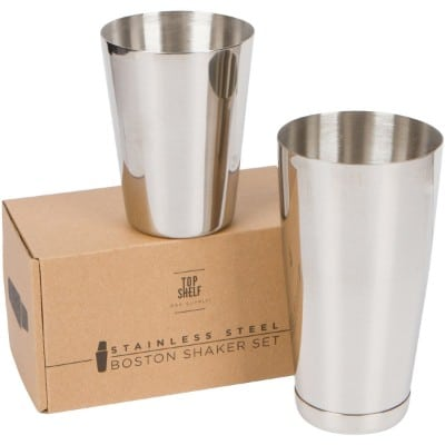 Stainless Steel Boston Shakers- 2-piece Set- 18 Oz. Unweighted & 28 Oz. Weighted