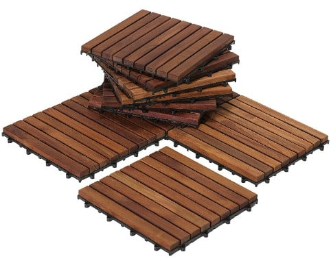 Bare Decor EZ-Floor Interlocking Flooring Tiles, Solid Teak Wood, Set of 10