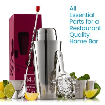 Expert Cocktail Shaker Home Bar Set - 14 Piece Stainless Steel Bar Tools Kit with Shaking Tins
