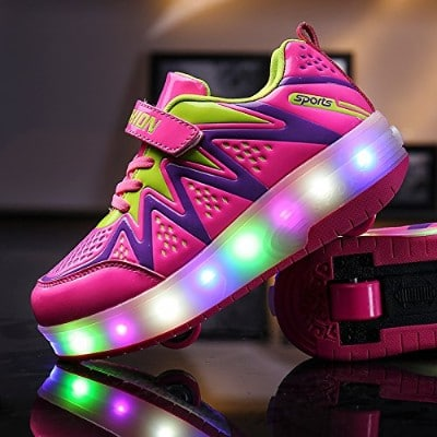 Nsasy YCOMI Unisex Single Wheel Light up Roller Shoes