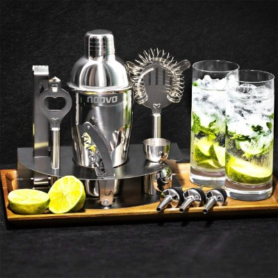 Home Cocktail Bar Set by Naava – Stainless Steel 10 Piece Mixology Tool Kit