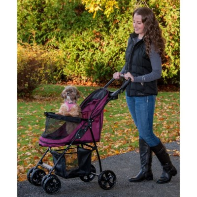Pet Gear No-Zip Happy Trails Lite Pet Stroller, Boysenberry