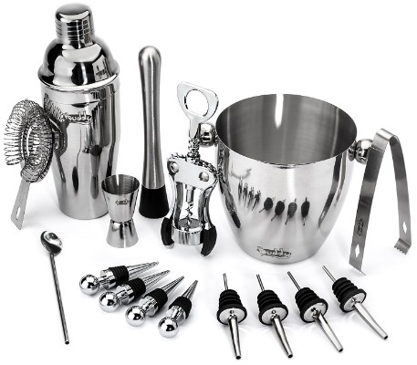 Buddy 16-Piece Wine and Cocktail Mixing Bar Set–Bartender Kit with Essential Barware Tools
