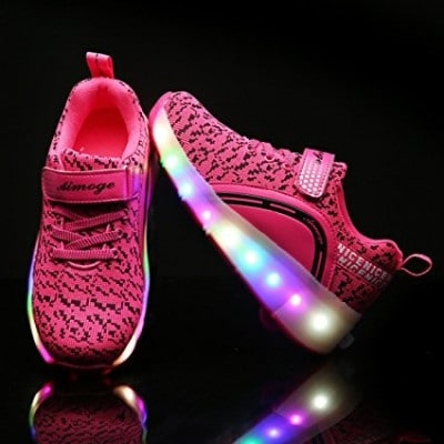 VMATE LED Boys Girls Light Up Roller Skate Shoes