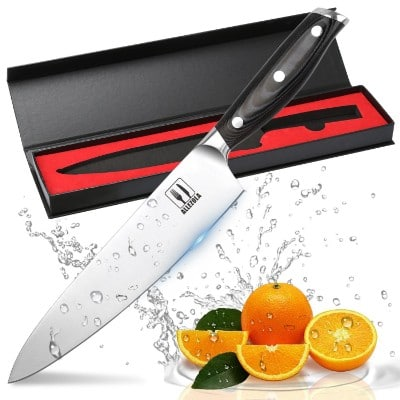 Allezola Professional Chef's Knife, 7.5 Inch German High Carbon Stainless Steel Kitchen Knife