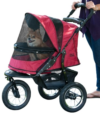 Pet Gear No-Zip Jogger Pet Stroller, Zipperless Entry, Rugged Red