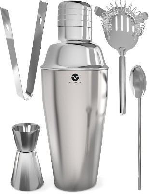Vremi Stainless Steel Cocktail Shaker Set - 5 Piece Bartender Kit with Martini Shaker